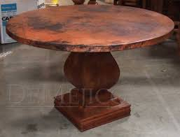 appealing brown round contemporary wooden copper top dining table stained ideas hi res wallpaper photos