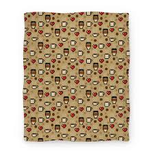 Patterned Blankets Adorable Coffee Pixel Art Pattern Blanket LookHUMAN