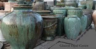 large green glazed garden pots