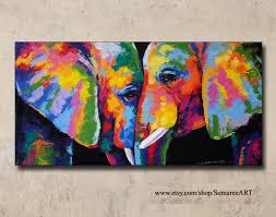description colorful elephant painting acrylic on canvas