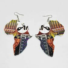 Laser Cut <b>Unfinished Wood Printing Africa</b> Map Drop Earring ...