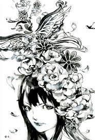 モノクロ 女の子と花のイラスト 和風のイラスト水彩画のイラスト