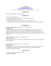 Ymca Resume Examples Personal Trainer Resume Objective Trainer Resume Sample Gallery 17