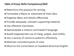 thinktime inc gkt essay information ppt  table of essay skills competency skill
