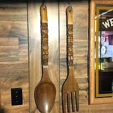 fork wall decor spoon fork wall decor big large carved wood wooden huge and kitchen fork