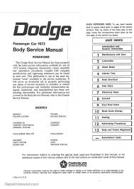 1972 dodge challenger dart charger coronet polara body 1972 dodge challenger dart charger coronet polara service manual page 2