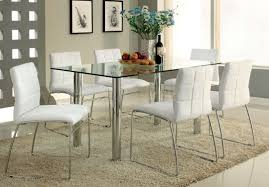 glass top tables and chairs. 7 Pieces Dinette With Rectangular Glass Top Table Chrome Base And White Leather Chairs Tables I