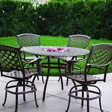 darlee sedona 5 piece cast aluminum patio counter height bar set with swivel bar stools