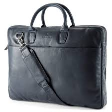 montreal slim 17 executive navy blue leather bag