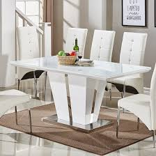 memphis glass dining table in white