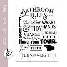 Vintage Bathroom Signs Bathroom Rules Sign Bathroom Wall Etsy