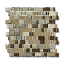 Mosaik Glas Naturstein Mix Beige Caramel Modern Badezimmer