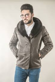 brown mens fur coat with wide lapel suited for stylish outfits