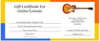 Guitar Lesson Gift Certificate Template Gift Cards Brian Gross Annandale Guitar Lessons