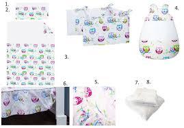 complete bedding set for cot 8 pieces set little owls collection vizaro