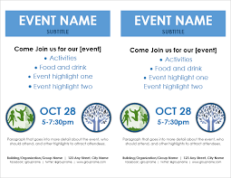 Event Flyer Template 2 Per Page By Vertex42 Com Event
