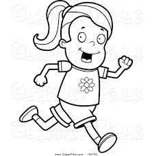 Small Picture Pal Clipart of a Lineart Running Girl by Cory Thoman 194780