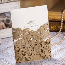 online buy wholesale golden wedding invitation from china golden Blank Golden Wedding Invitations 50pcs lot golden chic flower & heart cut out free personalized & customized printing blank 50th wedding anniversary invitations