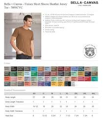 Bella T Shirts Color Chart Mens Custom Printed T Shirt Bella Canvas 3001cvc Color