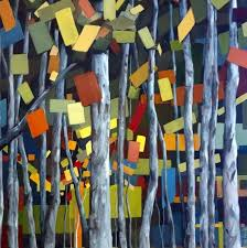 birch forest painting with abstract leaves green blue red and orange