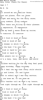 Song Lyrics With Guitar Chords For Mad World In 2019