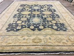 12x15 gray hand knotted rug new wool oushak rugs blue grey transitional ushak
