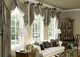 Accesories & Decors,Gray Fabric Scarf Over Valance As Window Treatment For  Spring Living Room Window Treatment Ideas Added White Couch And Corner  Cabinetry ...