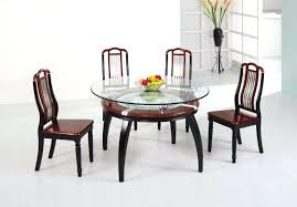 wooden dining table designs with glass top round glass top dining table set w 4 wood