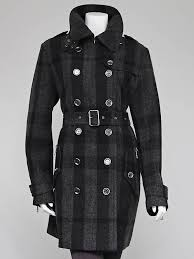 burberry brit grey check cotton wool bentham belted trench coat size 14