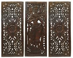 Wood Carved Wall Decor Multi Panels Oriental Home Decor Wood Carved Floral Wall Art