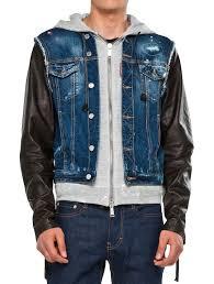 jeans jacket with leather sleeves mira estilista con experiencia
