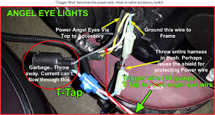 depo angel eye headlight wiring help bmw forums in this wiring layout my angel eyes are on at all times the ignition is on 1 drl 2 normal lights 3 high beams all modes