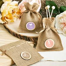Personalized Silhouette Burlap Favor Bag (Wedding)