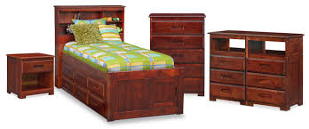 The Ranger Bookcase Bed Collection - Merlot | Value City Furniture ...
