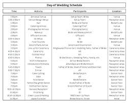 Wedding Party Timeline Template Caseyroberts Co