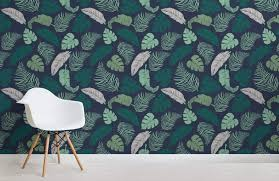 dark tropical leaves design room wall murals