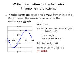 16 write the equation for the following trigonometric