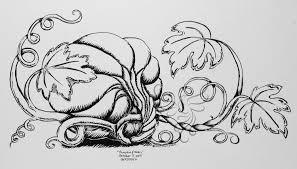 pumpkin vine drawing. inktober day 5: pumpkin and vine drawing
