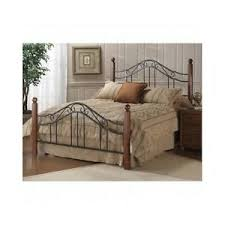 Details about King Bed Frame Queen Size Headboard Rails Footboard Cherry Wood Post Black Metal