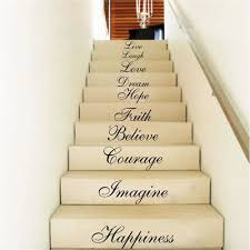 Stairs Quotes Stunning STAIR RISER STICKERS Ten Inspiration Words Wall Quotes Vinyl Decals