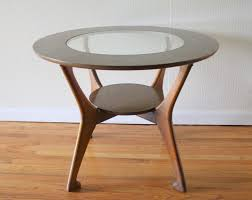 bedroom glass top round nightstand with storage base for bedroom
