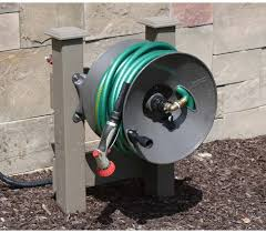 wall mount garden hose reel 150 ft rapid reel but mounted on posts