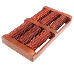 desi karigar wooden foot feet massager 6 roller stress acupressure feet stress reliever