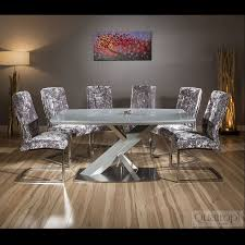 modern grey gl top 1 6m dining table set 6 x silver velvet chairs