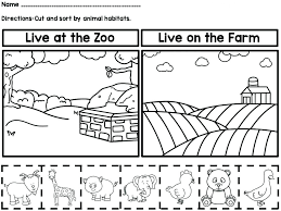 Zoo Animals Worksheets For Kindergarten Animal Coloring Pages Full