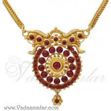 antique design short chain red stone studded pendant gold plated indian jewelry