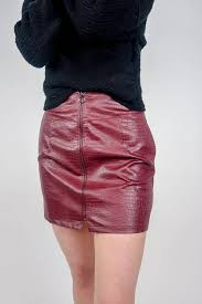 she sky faux leather mini skirt w zipper