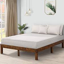 PrimaSleep 14 Inch Solid Wood Platform Bed Frame/Anti-Slip Support/No Box Spring Needed/Easy to Set Up,Queen,Brown