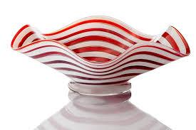 Candy Cane Design Amazon Com Handblown Glass Flutter Bowl Candy Cane Design