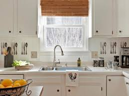 Awesome Kitchen Beadboard Backsplash With Double Sink Design And Window  Treatment